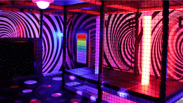 Sensory room design with bubble tubes, fibre optic carpets, led wall panels, projectors and soft play shapes