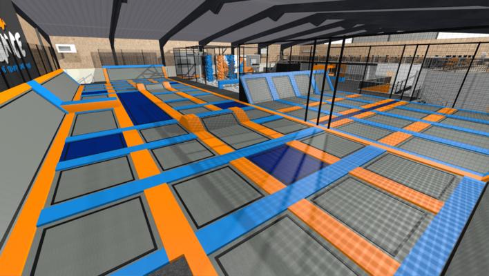 Trampoline park design, trampoline park equipment