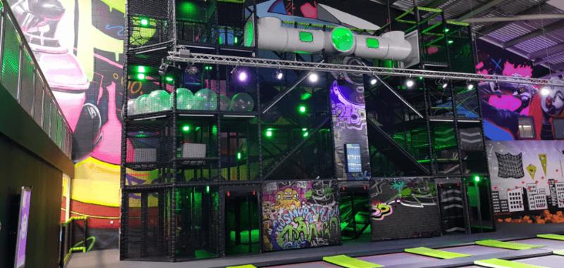 Indoor playground design, trampoline park features and games