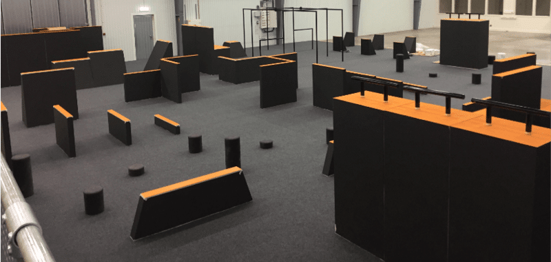 Parkour equipment and obstacles, ninja warrior training route