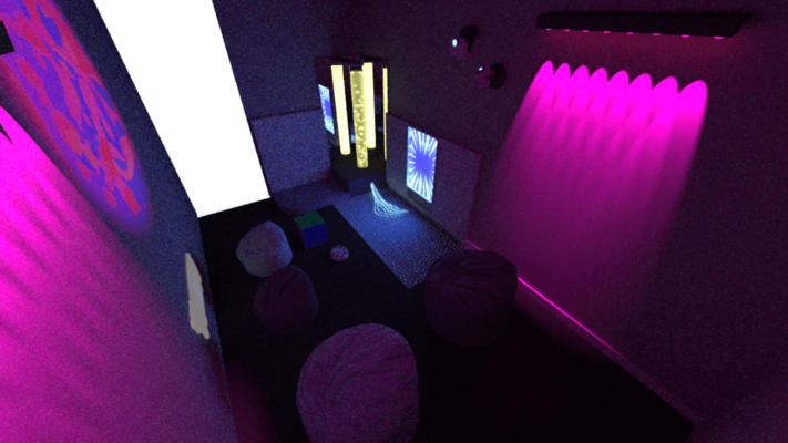Sensory room design with bubble tubes, fibre optic carpets and led wall washer