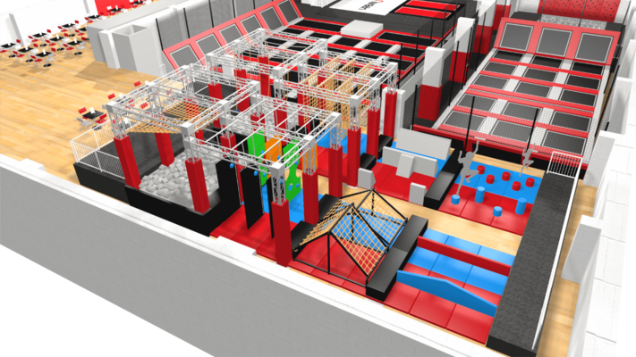 Ninja warrior assault course with parkour obstacles