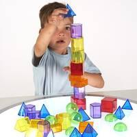 transparent 3d geometric shapes sensory colour exploration