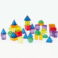 Transparent 3d geometric shapes sensory colour exploration