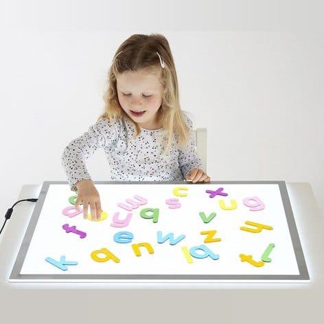 Transparent acrylic alphabet letters recognition sensory colour exploration