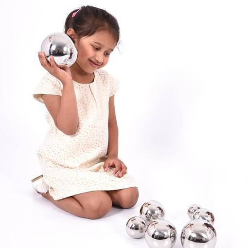 Sensory tactile mirror sound reflective balls