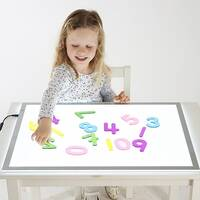 Transparent acrylic numbersletters recognition sensory colour exploration