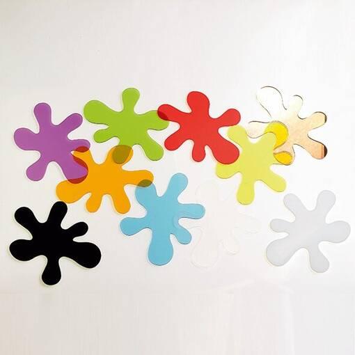 Transparent acrylic splat pieces sensory colour exploration