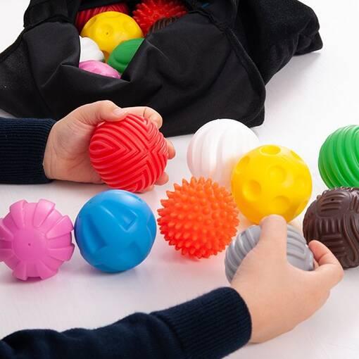 Sensory tactile ball set textured colourful