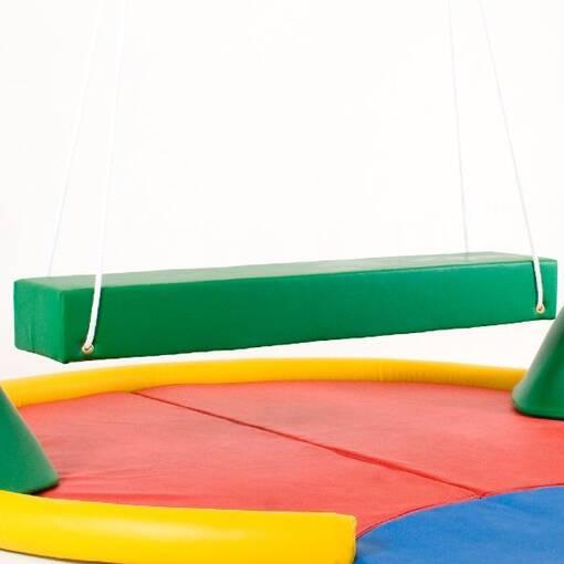 Bolster swing for sensory ingratiation free-standing frame for swings