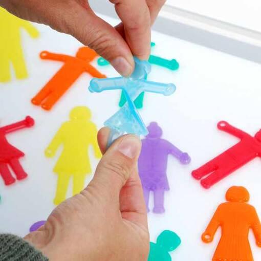 Transparent silishapes linking people
