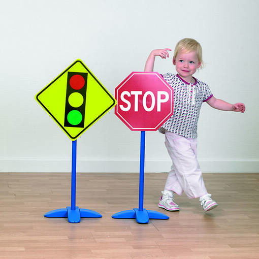Road traffic sign set for children's role play areas