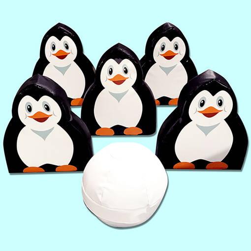 Soft play foam penguin bowling skittles set
