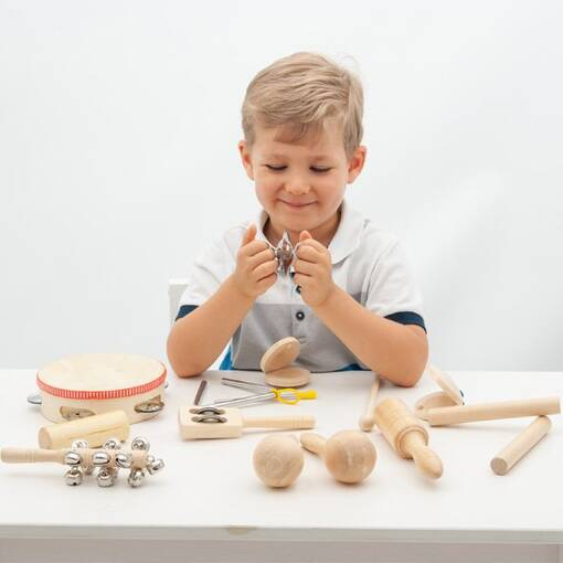 Percussion musical instrument set for audio stimulation in early years