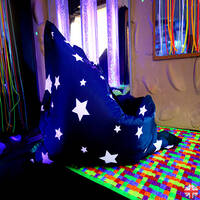 Uv star print floor cushion for indoor or outdoor