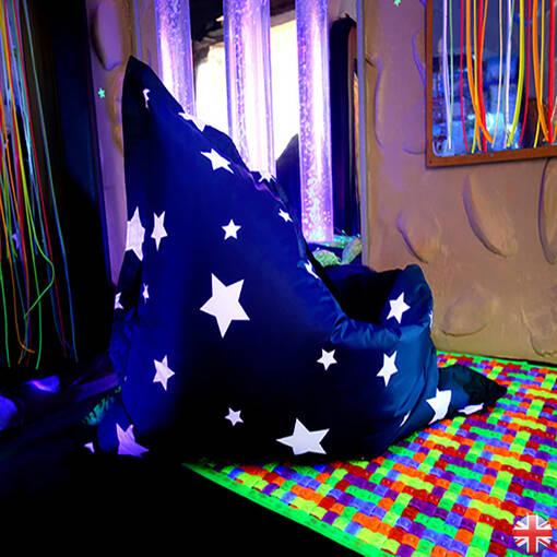 Uv star print floor cushion for indoor or outdoor